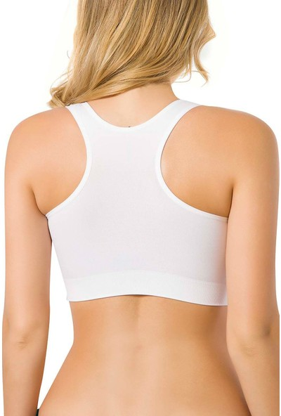 Emay Seamless Kalın Askılı Sporcu Bustiyer 4001 Beyaz