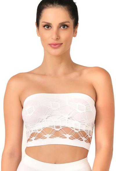 Emay Seamless Straplez Çift Kat Örme Bustiyer 4050 Beyaz