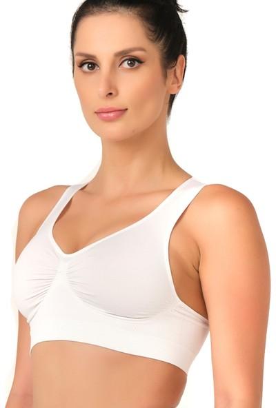 Emay Seamless Toparlayıcı Sporcu Sütyen 4011 Beyaz
