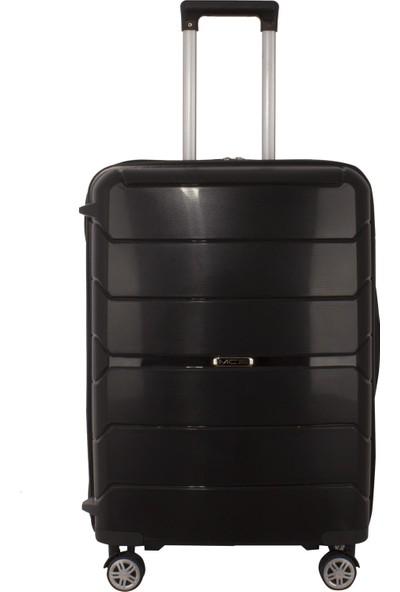Mçs Kırılmaz Lüx Siyah Orta Boy Pp Valiz - V363