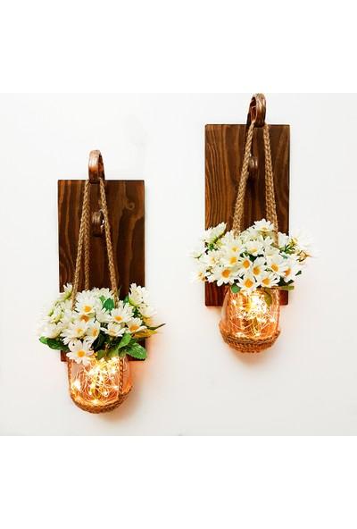 St Dekor Papatya Çiçekli LED Aydınlatmalı Aplik 2'li Set