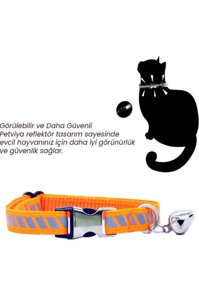 Petviya Reflektörlü, Ayarlanabilir ve Zilli Kedi Boyun Tasması Turuncu