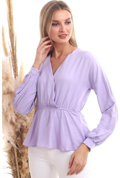Cotton Mood 20333307 Dok.viskon Kruvaze Yaka Uzun Kol Bluz Lila