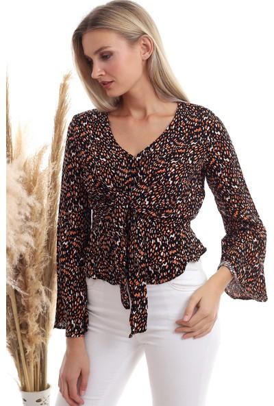 Cotton Mood 20333372 Dok.viskon Desenli Önü Bağlamalı Volanlı Bluz Siyah Oranj