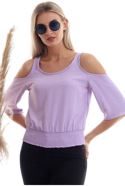 Cotton Mood 20333451 Ayrobin Omuzu Açık Beli Lastikli Kısa Kol Bluz Lila