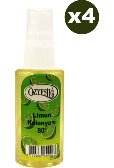 Özyeşil Limon Kolonyası 80°c Sprey 50 ml x 4 Adet