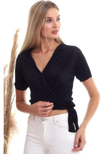Cotton Mood 20333373 Pliseli Kruvaze Yandan Bağlamalı Kısa Kol Bluz Siyah