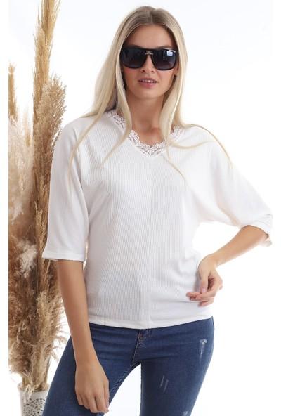 Cotton Mood 20343331 Kaşkorse Yaka Dantelli Yarasa Kol Bluz Ekru