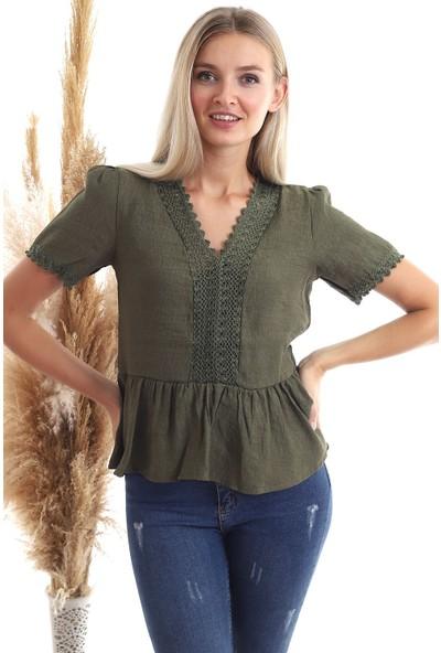 Cotton Mood 20343456 Keten Önü Güpürlü Eteği Volanlı Kısa Kol Bluz Haki