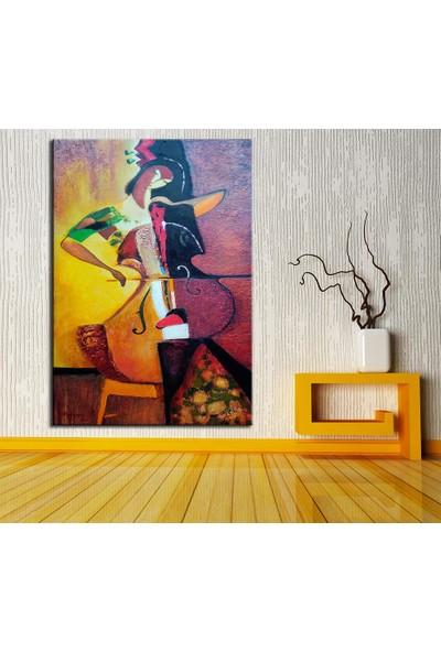 Caddeko Müzisyen Kadın Yağlı Boya Görünüm Kanvas Tablo DKM-K61-150-70 x 100 cm
