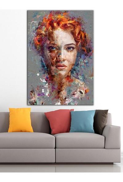 Caddeko Kızıl Saçlı Kadın Yağlı Boya Görünüm Kanvas Tablo DKM-K61-198-70 x 100 cm