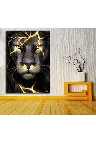 Caddeko DKM-K62-30 Altın Dövmeli Aslan Yağlı Boya Görünüm TABLO-70 x 100 cm