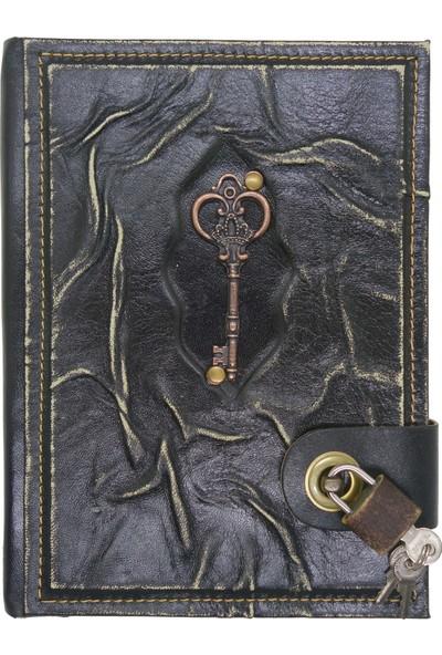 Notopelle Antik Anahtar Figürlü Kilitli Deri Defter