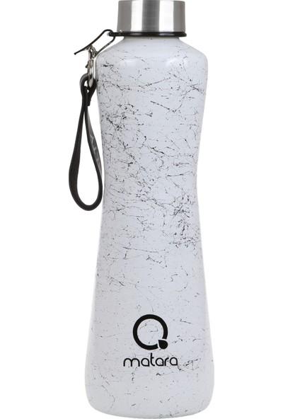 Qmatara Marble Beyaz Cam Matara Metal Kapak 750 ml Suluk