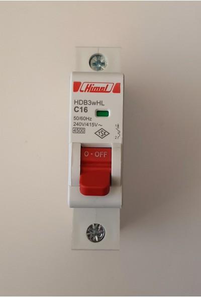 Himel 1X16A C Tipi 4,5ka Otomatik SIGORTA-HDB3WHL1C16