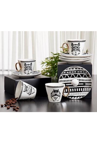 Aryıldız Prestige Baykuş Desenli 6 Kişilik Kahve Fincan Takımı