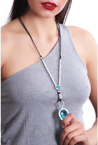 Labalaba Kadın Antik Gümüş Kaplama Ayarlanabilir Deri Kordonlu Kristal Kesme Taş Detaylı Hürrem Kolye