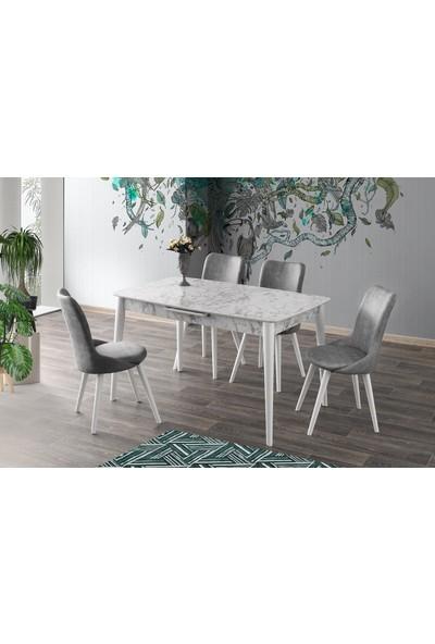 Sweet Home Milano Açılır Ahşap Beyaz Mermer Masa 4 Adet Inci Sandalye Takım