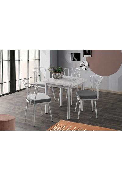 Sweet Home Sabit Masa Beyaz Mermer 4 Adet Güneş Sandalye Takım
