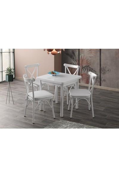 Sweet Home Sabit Masa Beyaz 4 Adet Çapraz Sandalye Takım