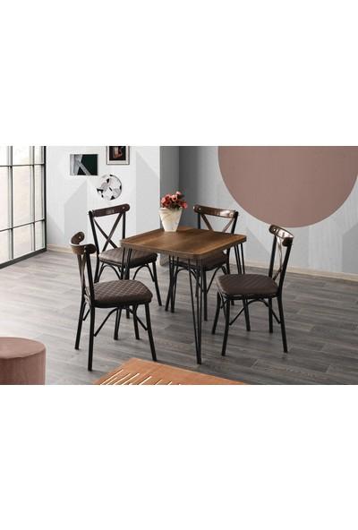 Sweet Home Sabit Masa Barok Ceviz 4 Adet Çapraz Sandalye Takım
