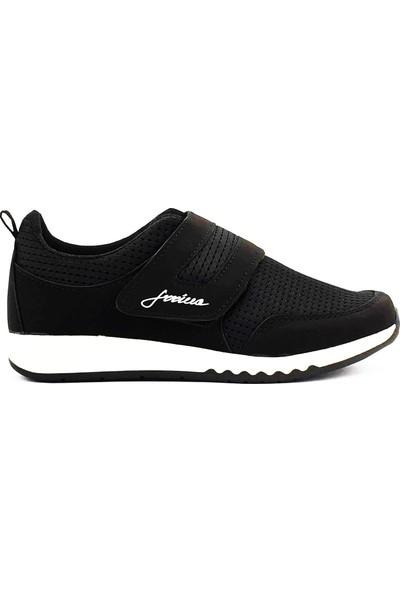 Ilgipark Kadın Günlük Hafif Cırtlı Siyah Yürüyüş Spor Ayakkabı