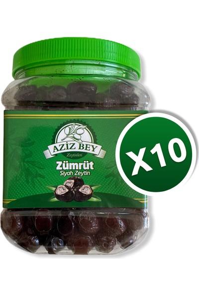 Azizbey Zeytinleri Zümrüt Salamura Gemlik Siyah Zeytin - 1 kg x 10