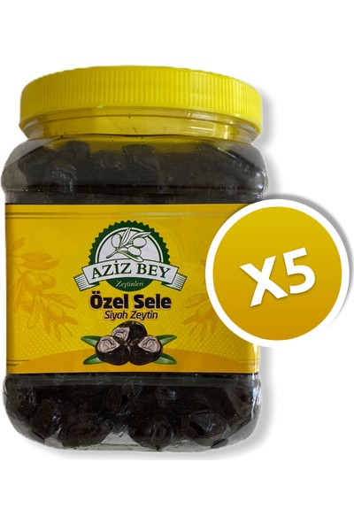 Azizbey Zeytinleri Tuzsuz Kuru Sele Zeytin - 1 kg x 5