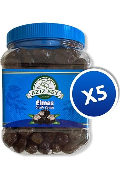 Azizbey Zeytinleri Elmas Salamura Gemlik Siyah Zeytin - 1 kg x 5