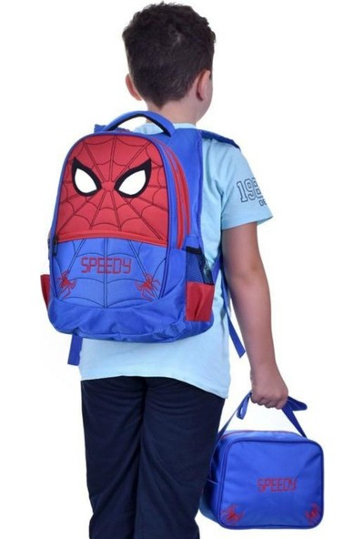 Çantaland Anaokulu ve İlkokul Beslenmeli Su Geçirmez Erkek Çocuk Okul Çantası Örümcek Adam