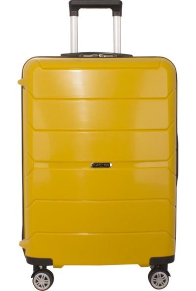 Mçs Kırılmaz Lüx Sarı Orta Boy Pp Valiz - V363
