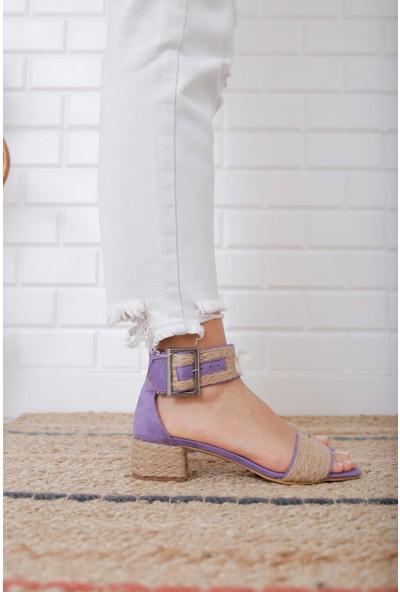 Bondi Kadın Mor Alçak Topuklu Hasır Bilekten Bağlama Topuklu Ayakkabı US700100