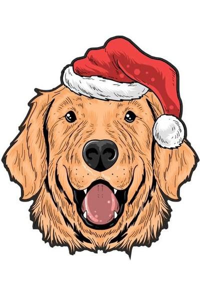 Sticker Fabrikası Golden Köpek Noel Şapka Sticker 00270 15 x 17 cm