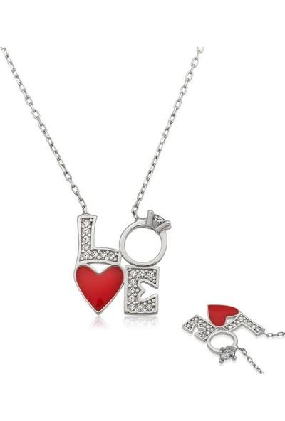Gumush Gümüş Kalpli Tek Taş Love Kolye