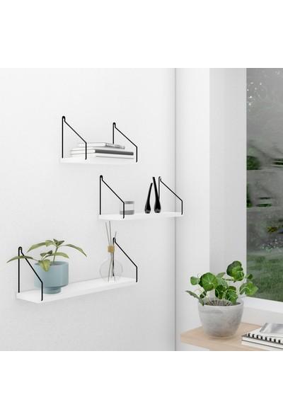 CatchMe Duvar Rafı 3'lü Set Kitaplık Mutfak Banyo Yaşam Alanı Siyah Kol