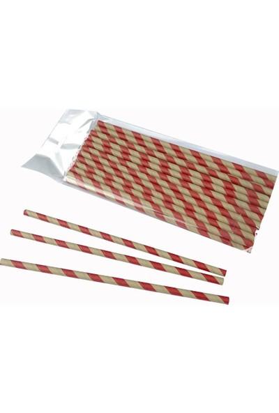 1001 Kağıt Pipet 6 mm Çap 19,5 cm Boy 25 Li Paket Kırmızı Kahverengi