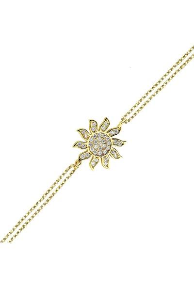 Lilarote Taşlı Güneş Altın Bileklik