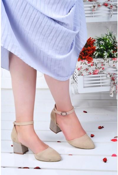 Ayakland 111012-347 5 cm Topuk Kadın Süet Sandalet Ayakkabı