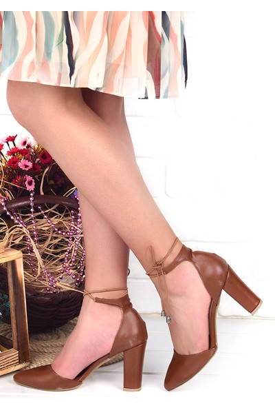 Ayakland 137029-1160 9 cm Topuk Kadın Cilt Sandalet Ayakkabı