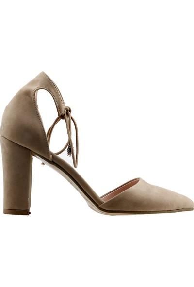 Ayakland 137029-1160 Süet 9 cm Topuk Kadın Sandalet Ayakkabı