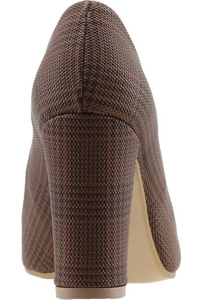 Ayakland 137029-311 Ekose 8 cm Topuk Kadın Ayakkabı
