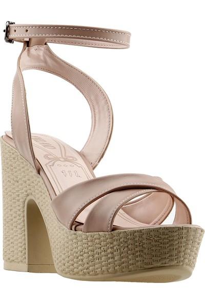 Ayakland 15136-1184 10 cm Topuk Kadın Cilt Sandalet Ayakkabı