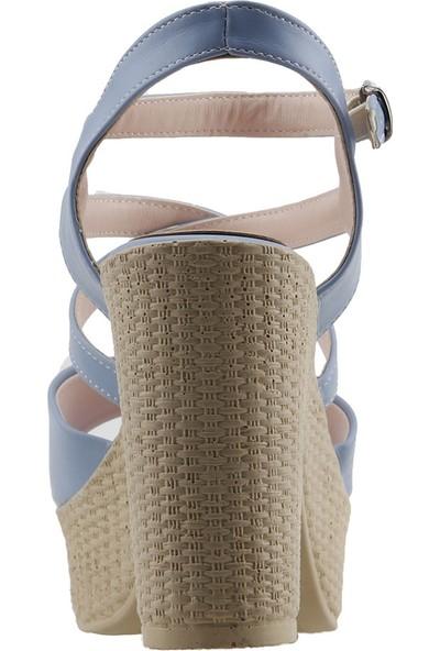 Ayakland 15136-1185 10 cm Topuk Kadın Cilt Sandalet Ayakkabı