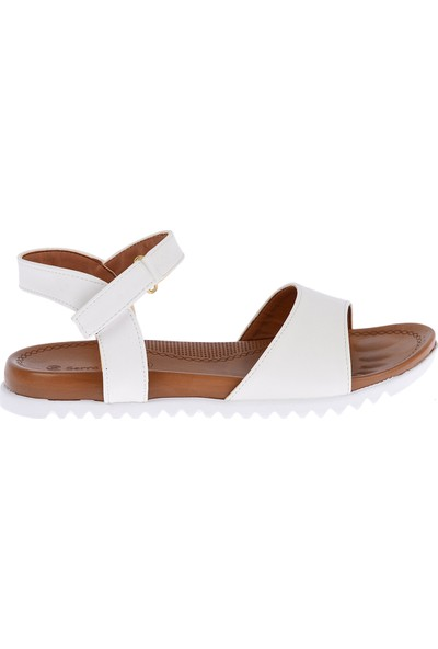 Ayakland 260-06 Cilt Günlük Kadın Sandalet Ayakkabı Beyaz