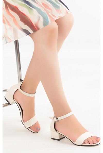 Ayakland 352-05 Cilt 3 cm Topuk Kadın Sandalet Ayakkabı Krem