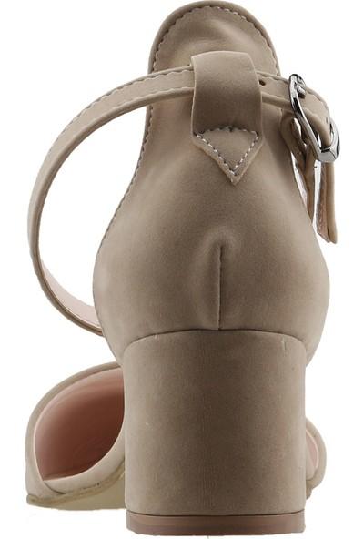 Ayakland 547-346 Günlük 5 cm Topuk Süet Kadın Sandalet Ayakkabı