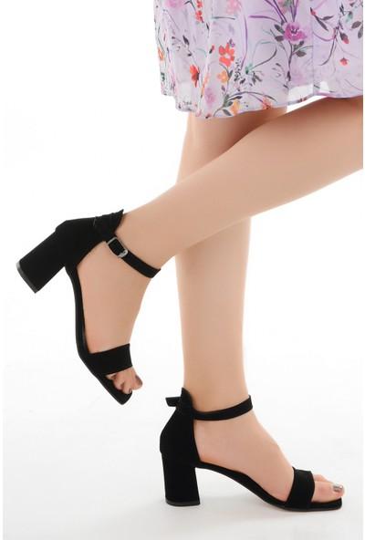 Ayakland 6470-05 Süet 7 cm Topuk Kadın Sandalet Ayakkabı Siyah