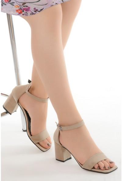 Ayakland 6470-05 Süet 7 cm Topuk Kadın Sandalet Ayakkabı Ten