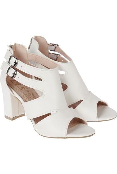 Ayakland 811-51 Günlük 7 cm Topuklu Kadın Cilt Sandalet Ayakkabı Beyaz
