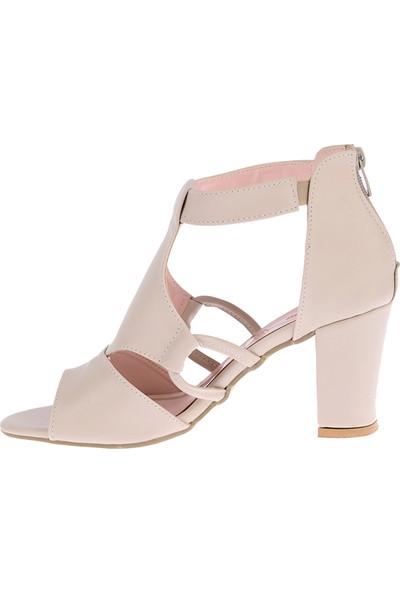 Ayakland 811-78 Cilt 7 cm Topuklu Kadın Sandalet Ayakkabı